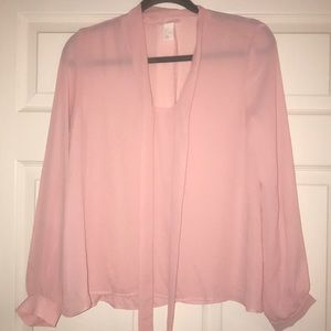 H&M Pink Tie Front Blouse